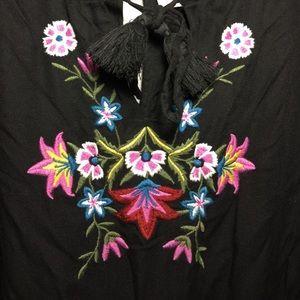 Floral Embroidered 3/4 length Black Dress
